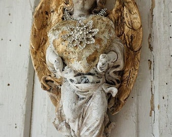 Cherub angel statue wall hanging w/ handmade heart and rhinestone crown distressed aged patina shabby cottage chic home decor anita spero