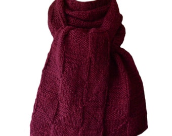 Hand Knit Scarf - Cherry Red Hand-Dyed Deer Valley Alpaca Windmill
