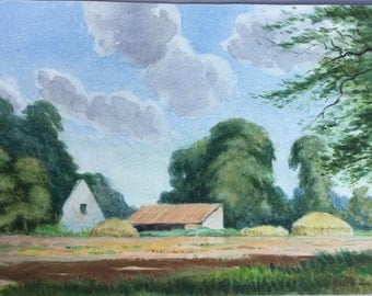 Country landscape watercolour Rural painting English countryside Farm buildings Barns Cornfields Rural Farmyard Trees Signed painting