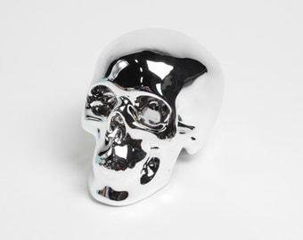 Metallic Chrome Human Skull Money Bank - Faux Human Head - Ceramic Skeleton - Sugar Skull Like - Halloween Decor - Chic Halloween Skull Head