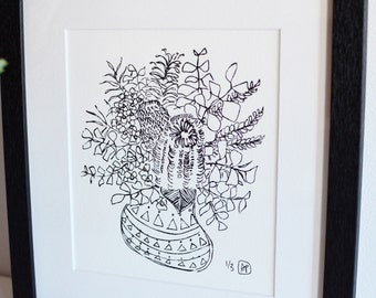 Little Native Pot // Original screenprint