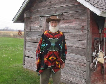 Clint Eastwood Style Poncho In Southwest Print Fleece R Native American Print