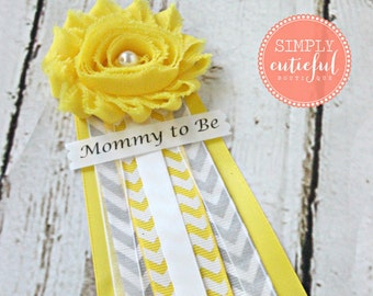 Yellow Gray Chevron Baby Shower Corsage with Mommy to Be Grandma to Be and Custom Pins Mommy Badge Ribbon Capia
