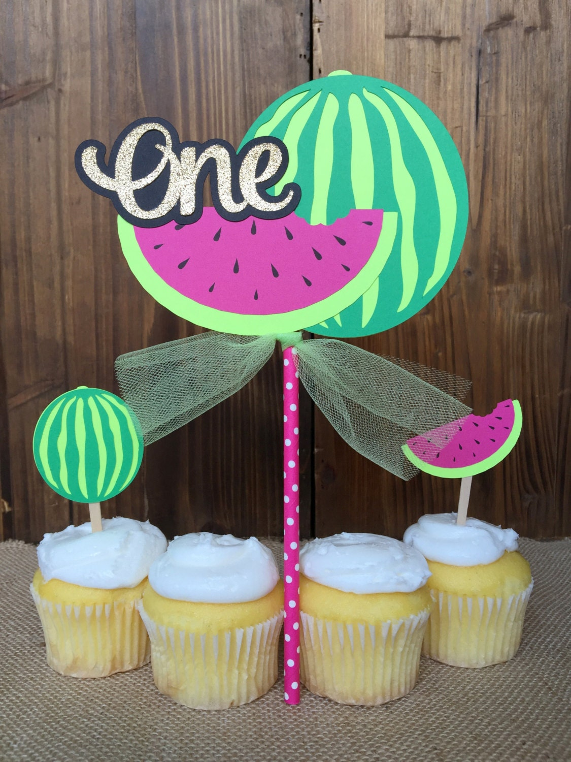 Summer Watermelon Tropical Birthday Cake Topper One In A
