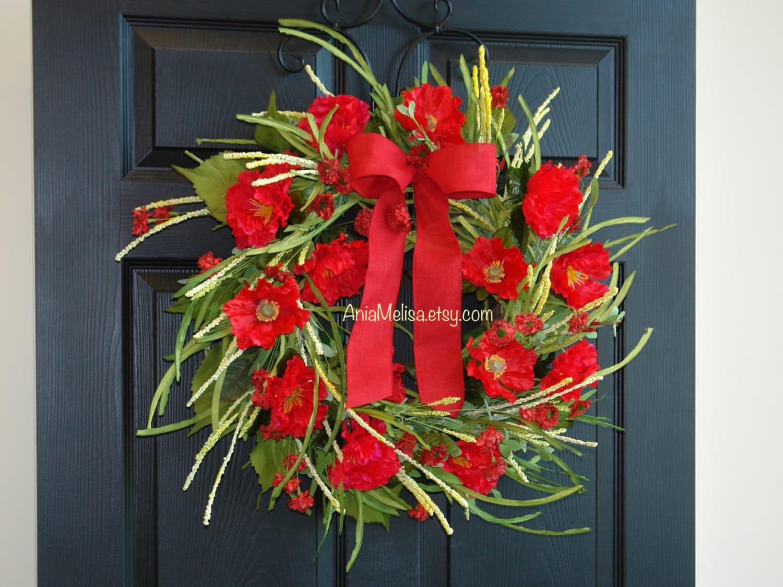 Summer Wreath Poppy Wreath Outdoor Wreaths Front Door Wreaths