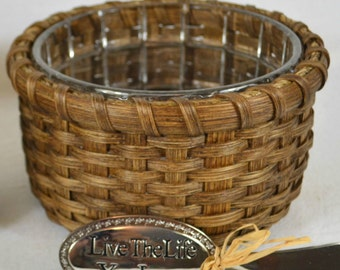 SALE - Hand Woven Basket with 24% Lead Crystal Dip Dish and Solid Walnut Wood Base & Server
