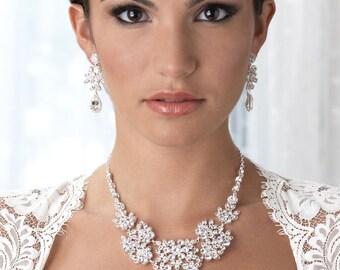 Floral Wedding Jewelry, Rhinestone Jewelry Set, Bridal Accessories, Wedding Jewelry, Rhinestone Jewelry, Floral Bridal Jewelry Set ~JS-1649