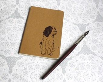 Springer spaniel print note book | Dog print | Animal print | Moleskine | Cahier Journal | Lino print | Handmade | Pocket size |