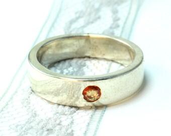 Sapphire Ring Gemstone Ring Handmade Ring Sapphire Jewelry Orange Sapphire Silversmith Ring Rings 925 Silver Hand Fabricated Silver Ring