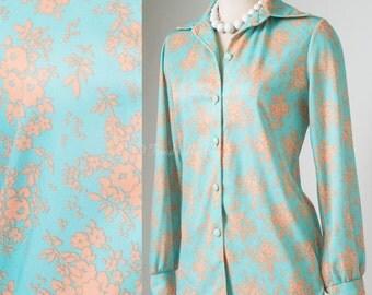 Vintage top, Vintage Blue Top, Vintage Blouse, Blue brown Top, 60s top - S/M
