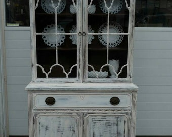 Vintage Chippendale Breakfront,Chippendale Breakfront,Farmhouse Breakfront,Painted Furniture,Shabby Breakfront,Cottage Furniture