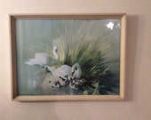 Retro Swan Painting - Vernon Ward - Vintage Boots Framed Picture - Swan Decor - Vintage Home - Spring Decor - New Home Gift