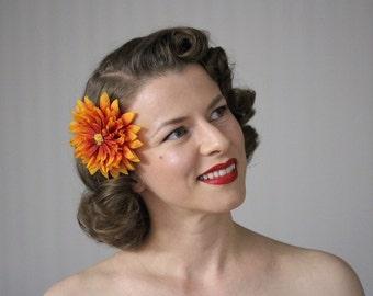"Orange Fascinator Flower, Fall Hair Accessory Clip, 1950s Floral Headpiece, Mums Womens Headband Autumn Hair Retro Gift - ""Horizon Ablaze"""