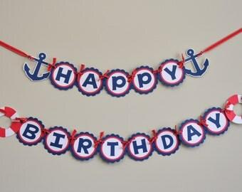 Nautical birthday etsy nautical birthday banner nautical party banner nautical happy birthday pronofoot35fo Choice Image