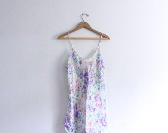 Silky Floral 90s Slip Dress