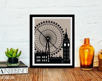 London England skyline, 11x14 or 8x10, Big Ben, The Eye, Parliament, Sign pop art poster, Modern art, Print affordable home decor