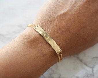 Badass Bracelet, Large Gold Bar Bracelet, Mantra Bracelet, Inspiration, Personalized or Blank Gold Bar Bracelet, Name Bracelet, Short Phrase