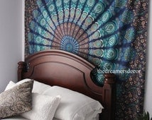 Wall Hanging Tapestry | Bohemian Mandala Queen Blue Hippie Tapestry Indian Fabric Large Bedding Sheet Decor Beach Throw (READY TO SHIP)