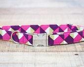 Female Dog Collar, Pink Dog Collar, Purple Dog Collar, Girl Dog Collar, Pet Collar, Geometric Dog Collar, Large Dog Collar, Small Dog Collar