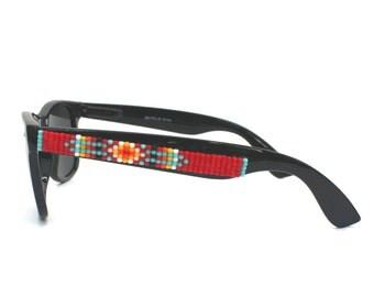 Polarized Sunglasses, Beaded Sunglasses, Red Navajo-Inspired Sunglasses, Ray Ban style, Wayfarer Sunglass, Unique Gift, Summer Accessory