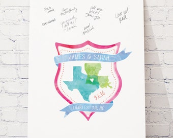 Watercolor Wedding Crest Guest Book Alternative,  Canvas Guestbook, Custom Crest Guest book, CANVAS Guest Book - The Crest Collection