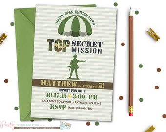 Army Birthday Invitation, Army Invitation, Camo Birthday Invitation, Camo Invitation, Army Men, Green Army Men, Military, Camouflage, Camo
