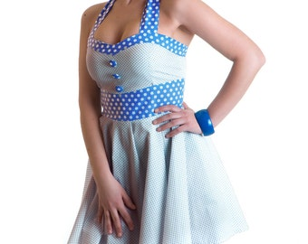 Updown Sandy rockabilly retro dress polka dots blue white buttons vintage 50's round skirt pin-up prom - Handmade in Italy Limited Edition