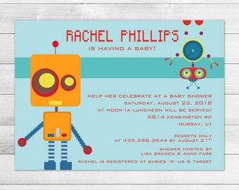 Robot Baby Shower Invitation