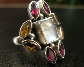 Vintage Sterling Silver multi stone Ring