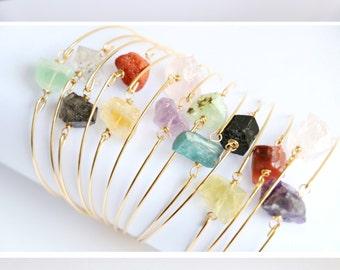 Raw crystal bracelet Stone bracelet Quartz bracelet Gemstone bracelet Natural crystal bracelet healing crystal bracelet crystals jewelry