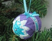 Folded Fabric Ornament, Quilted Holiday Ornament, Turquoise, Purple, Bow, Lace, Easter Decoration, Christmas Tree, Handmade, Gifts Under 20