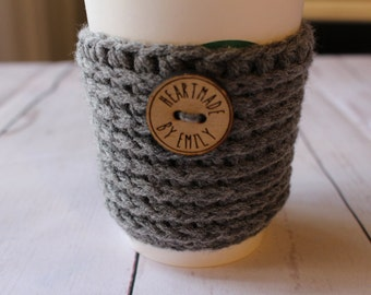 Gray Crochet Coffee Cozy - Crochet Coffee Sleeve - Coffee Cozy - Coffee Sleeve - To Go Coffee Cup Sleeve