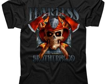 Personalized Firefighter T-shirt SD1181 Fearless Brotherhood Custom Firefighter Design