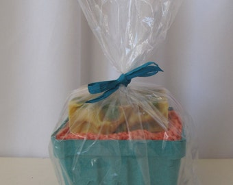 Cotton Spa Gift Set, Cold Process Soap and Large Knit Wash Cloth, Four Combos to Choose From, Teacher Gift, Hostess Gift, Stocking Stuffer