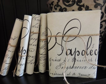 French Script Journal Jeanne d' Arc Notebook Diary Natural Ivory Blank Book Handmade Paper 90 Pages