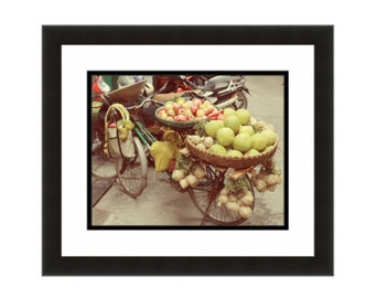 Bicycle Art Bicycle photo Fruit seller's bike Bicycle with fruit Bike art Bike photo Asia Wall art Vietnam Gifts for bike lovers Asia Art