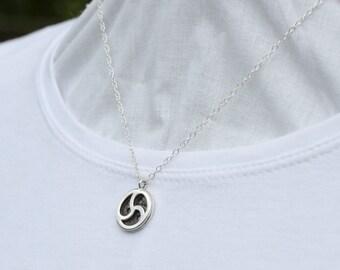 BDSM Emblem Necklace, Steling Silver, HandmaTriskele Pendant, BDSM Triskele Symbol, 15MM wide(925) Sterling Silver chain.