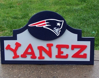 "NEW ENGLAND Patriots Sign with your NAME ""Personalized""  Custom Made Wood Decor Done in Brillant Team Colors"