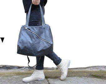 Sayo leather bag crossover messenger grey waxed soft