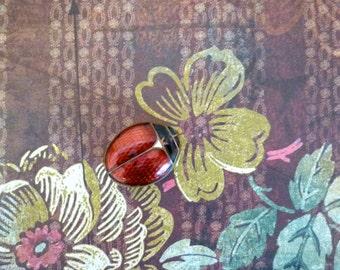 Edwardian Enamel Ladybug Snuffbox or Pillbox - Antique Enamel Box - New Price