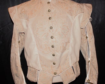 Men's Renaissance Doublet with Detachable Sleeves in Cream Brocade with Tabs and Black Chevron and Satin with a Peplum