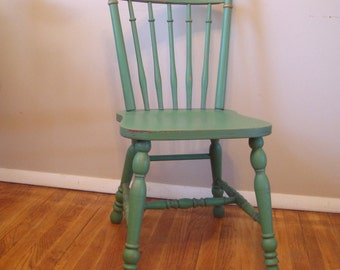 Custom Painted Distressed Wood Farm Chair Vintage Farmhouse Dining