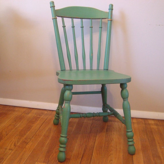 Custom Painted Distressed Wood Farm Chair Vintage Farmhouse