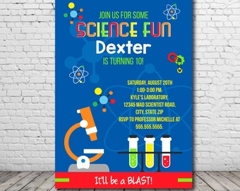 Science Party Invitation - Science Birthday Invitation - Mad Scientist Invitation - Science Lab party - Instant Download - Edit NOW!