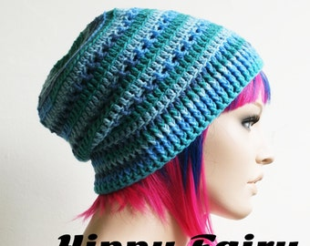 Blue ombre Ocean colored beanie with rib stitch trim
