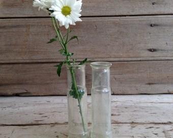 antique small bottle / olive oil bottle / small glass bottles / glass bud vase