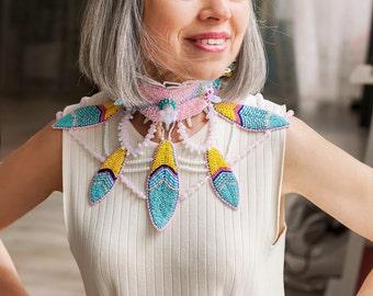 Tribal head piece - bohemian jewellery - 2016 jewelry collection - pastel pink headband - opal jewelry accessory - boho fashion - costume