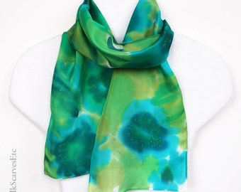 Watercolor scarf, Hand painted silk scarf, Floral green teal blue scarf, Artist painted silk, Abstract flower scarf, Gift for mom, Headscarf