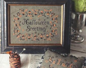 Blackbird Designs - Halloween Greetings Sampler - Pumpkin Pincushion - Counted Cross Stitch Chart