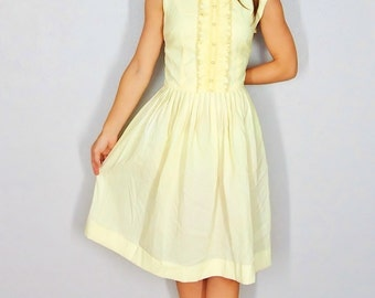 Yellow 1950s Dress, 50s Style Yellow Dress, Casual Party Dress or Day Dress, Fit and Flare Medium Small